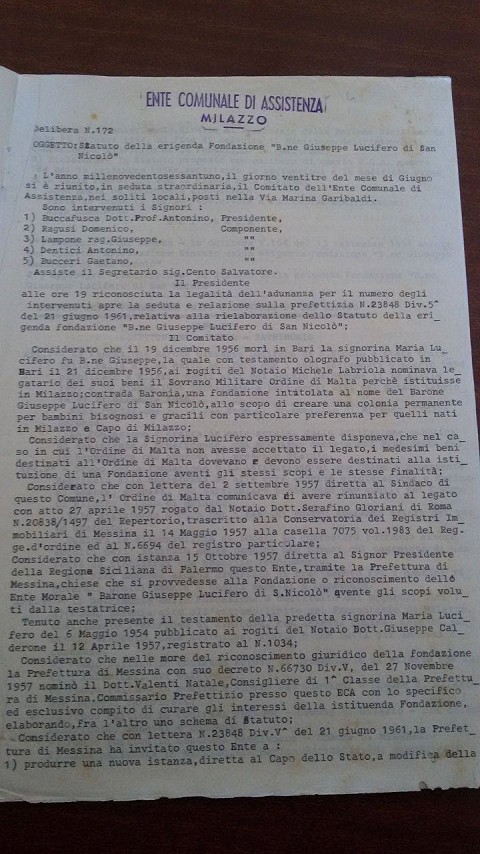 Approvazione Statuto del 23/6/1961